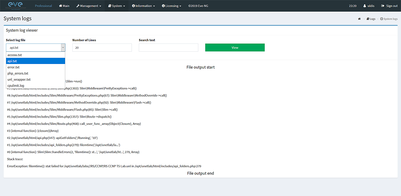 EVE system logs page. Collect systems log files.