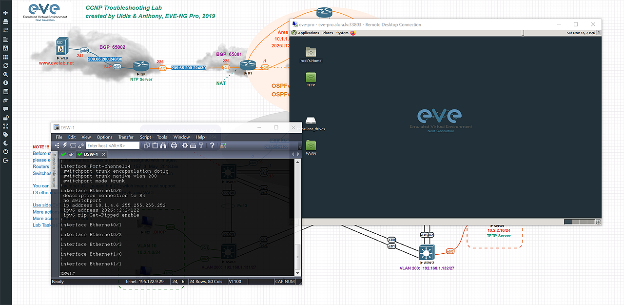 EVE Native console. Using locally installed telnet clients, Putty, Secure CRT, etc