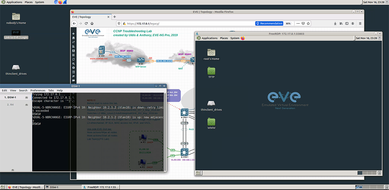 EVE total clientless HTML5 Desktop console. Embedded docker station allows manage and run EVE over single HTML session.