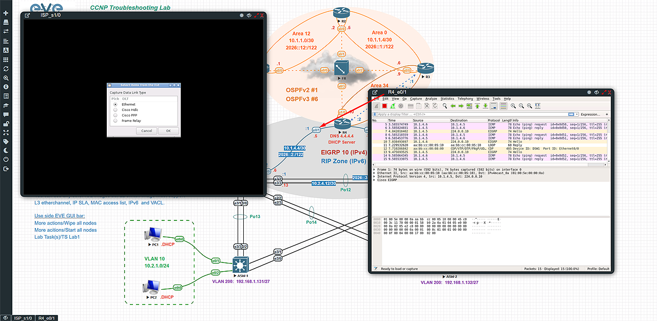 Embedded Wireshark docker station. Allows live traffic capture for different types of links. Ethernet and serial (HDLC, PPP, Frame relay). Wireshark files can be saved and exported to local host
