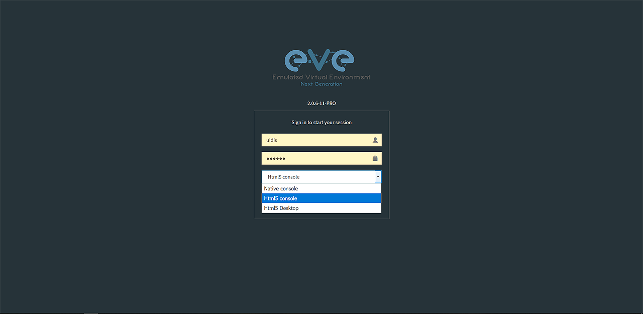 Login screen with console types choice. Native, HTML5 and HTML5 desktop