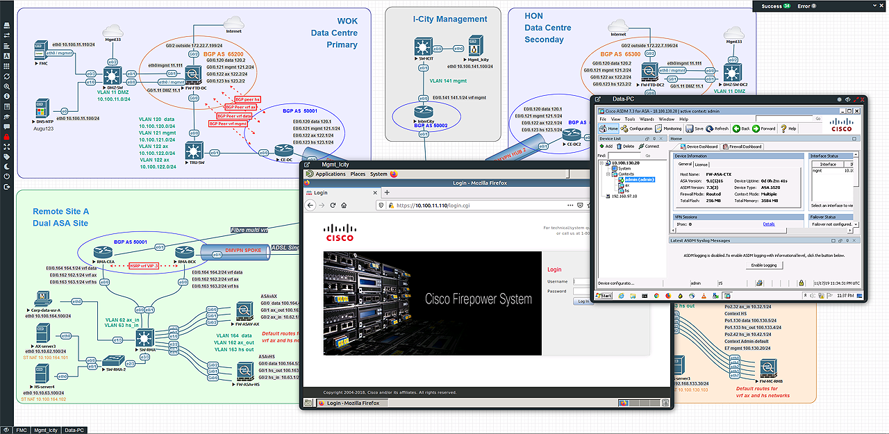 Designed PoC Lab DMVPN with FirePower FTD and Multiconext ASA