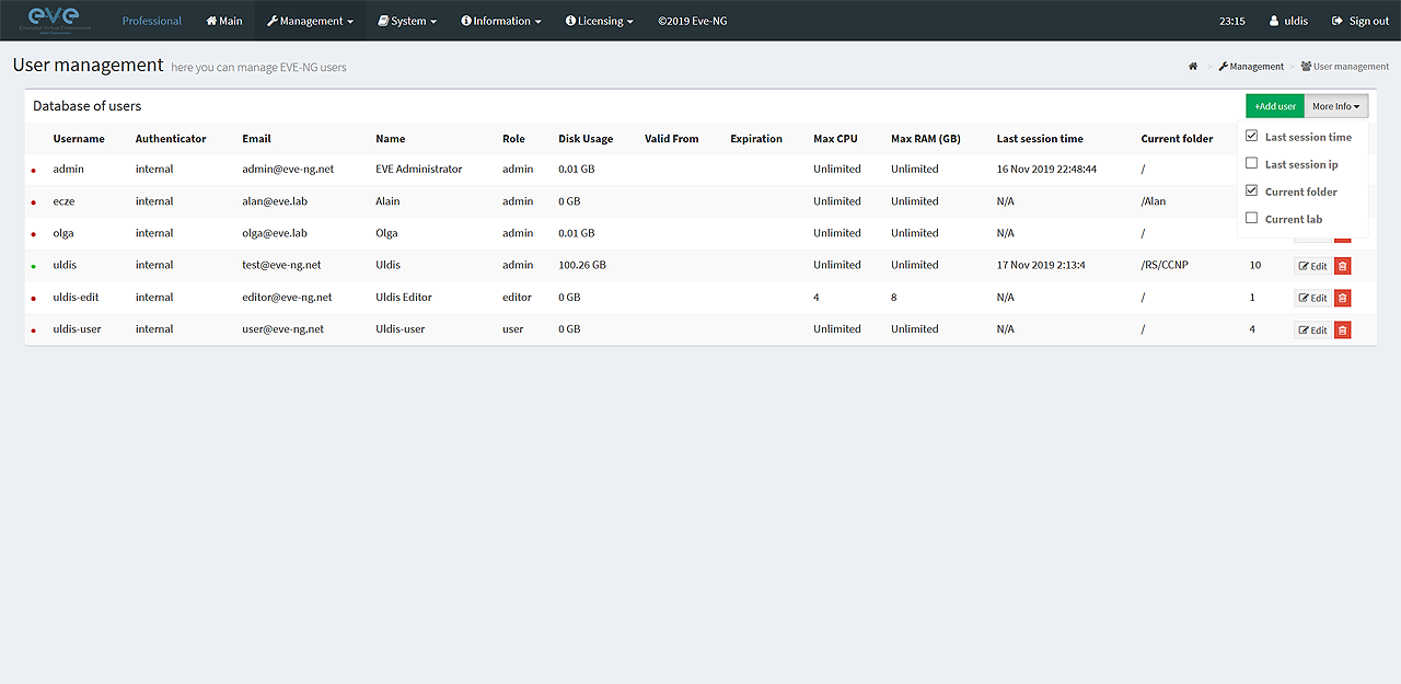 Extra Users information options to view, last session, HDD use, IP etc